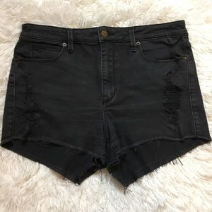 Guess Black High Waisted Distressed Jean Shorts